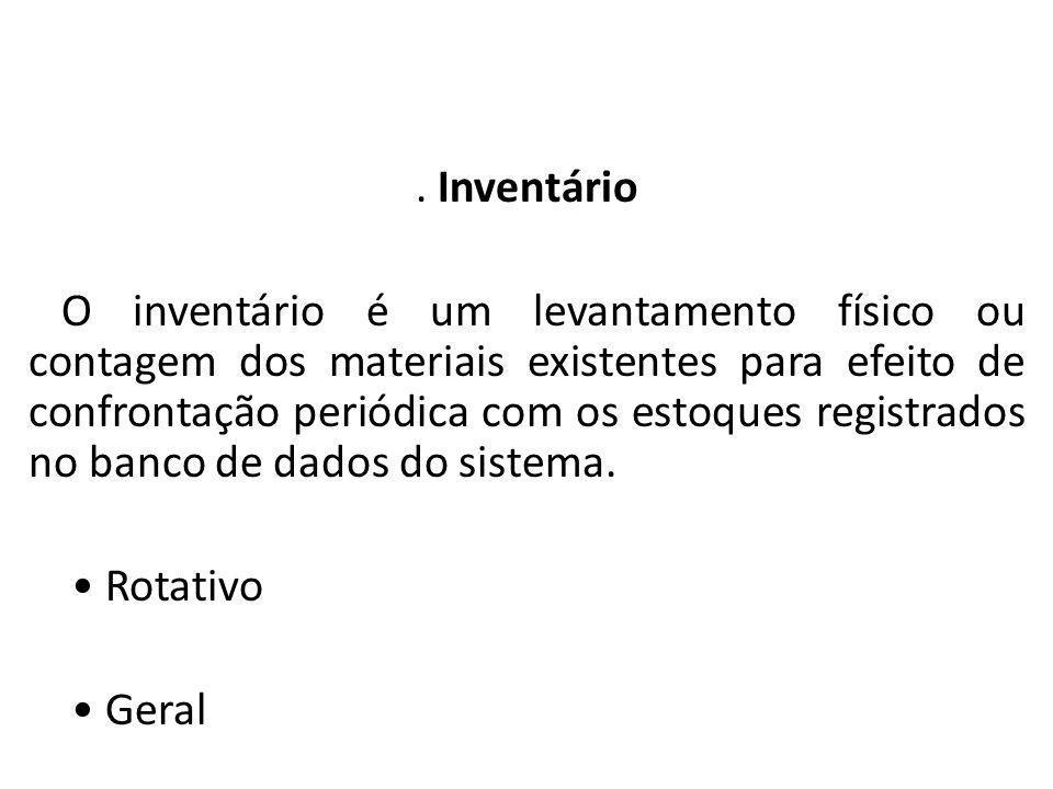 Almoxarifado. Inventário O inventário é um levantamento físico ou contagem dos materiais existentes para efeito de confrontação periódica com os estoq