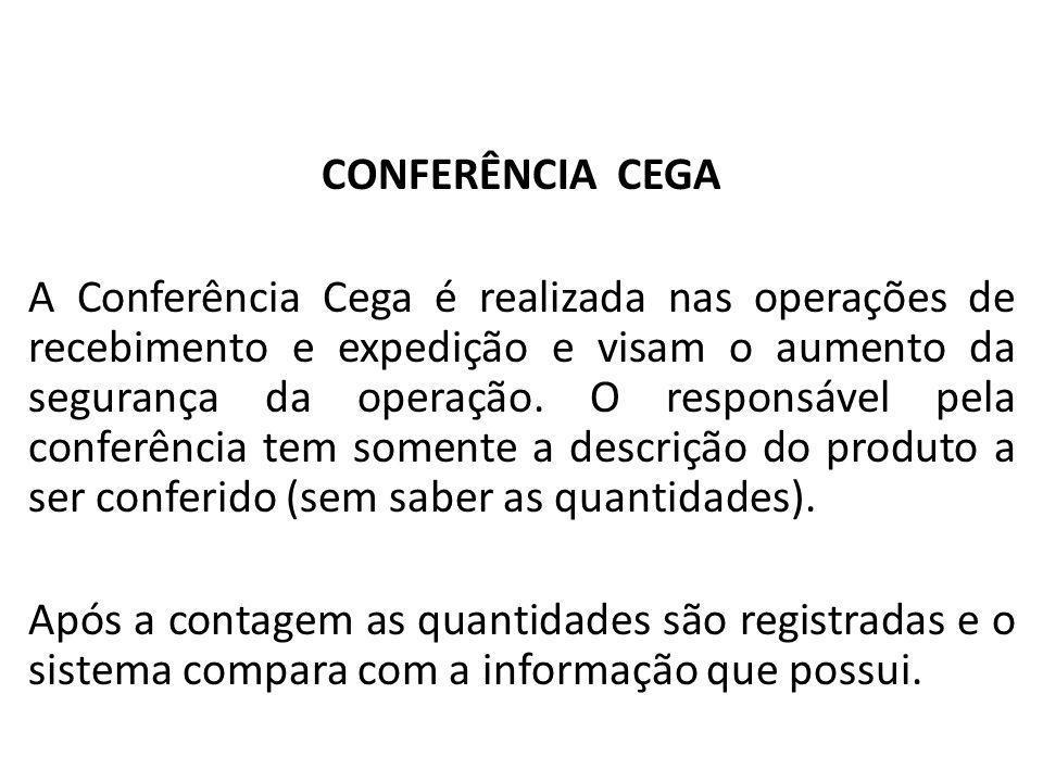 Almoxarifado CONFERÊNCIA CEGA A Conferência Cega é realizada nas operações de recebimento e expedição e visam o aumento da segurança da operação. O re