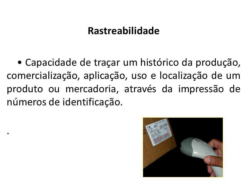 Almoxarifado Rastreabilidade Capacidade de traçar um histórico da produção, comercialização, aplicação, uso e localização de um produto ou mercadoria,