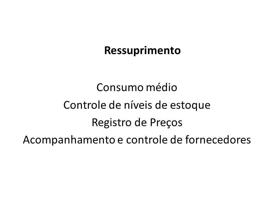Almoxarifado Ressuprimento Consumo médio Controle de níveis de estoque Registro de Preços Acompanhamento e controle de fornecedores