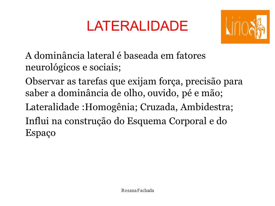 Rosana Fachada LATERALIDADE A dominância lateral é baseada em fatores neurológicos e sociais; Observar as tarefas que exijam força, precisão para sabe