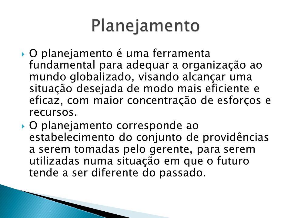 O planejamento é uma ferramenta fundamental para adequar a organização ao mundo globalizado, visando alcançar uma situação desejada de modo mais eficiente e eficaz, com maior concentração de esforços e recursos.