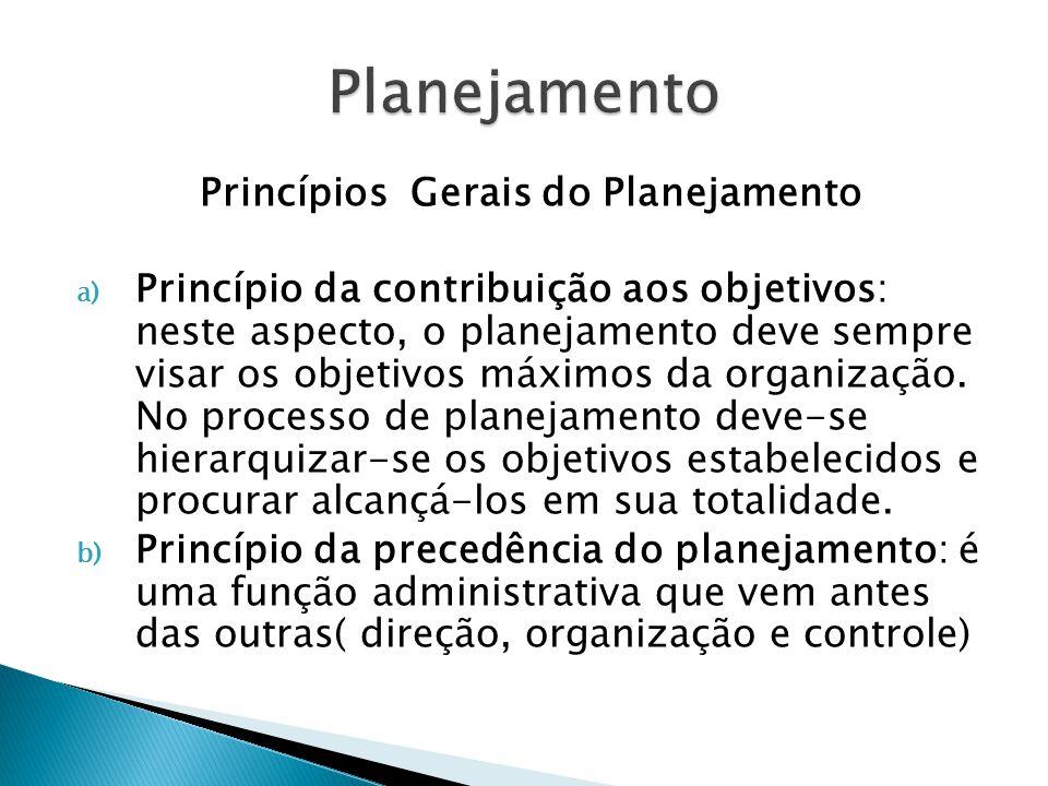 c) Princípio da maior penetração e abrangência: o planejamento pode provocar uma série de modificações nas características e atividades de uma organização.