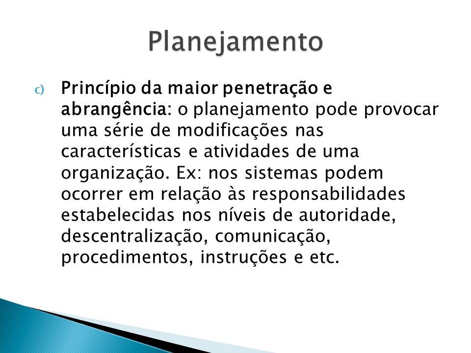 d) Princípio da maior eficiência, eficácia e efetividade: o planejamento procura maximizar os resultados e minimizar as deficiências.