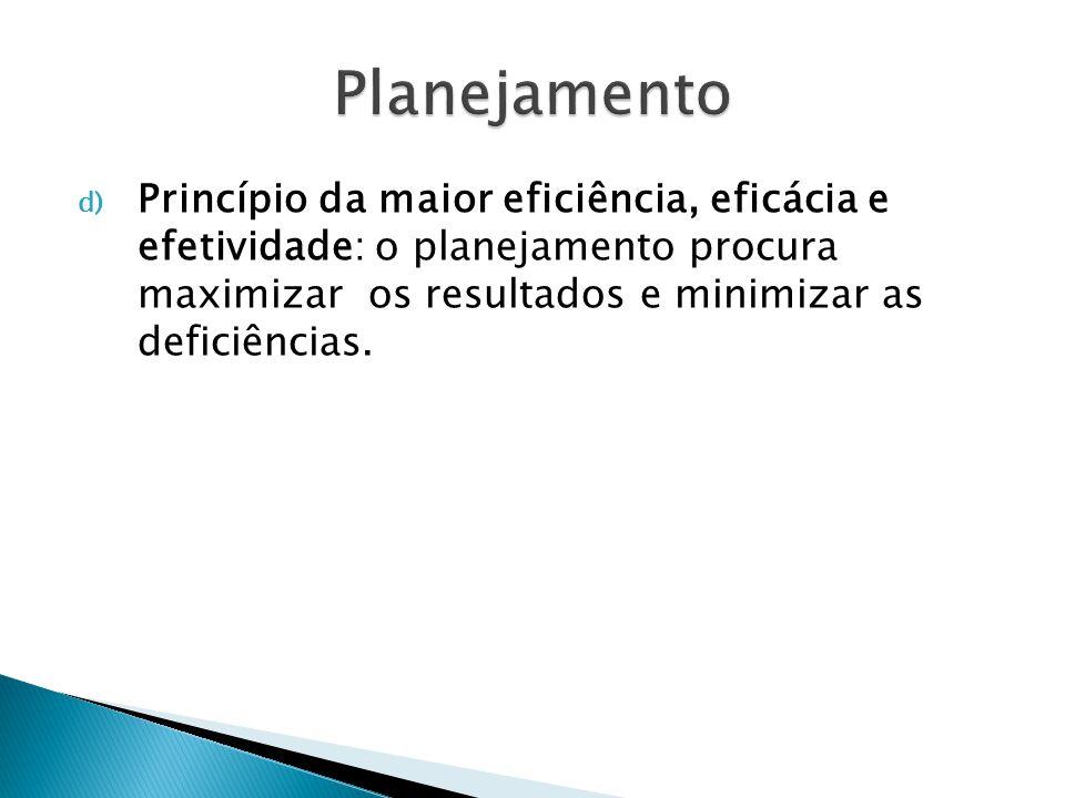 Princípios Específicos de Planejamento a) Planejamento participativo: o principal benefício do planejamento não é o seu plano, mas o processo empregado.O papel do responsável pelo planejamento não é simplesmente elaborá-lo, mas facilitar o processo de sua elaboração, o planejamento deve ser realizado pelas unidades organizacionais pertinentes ao processo.