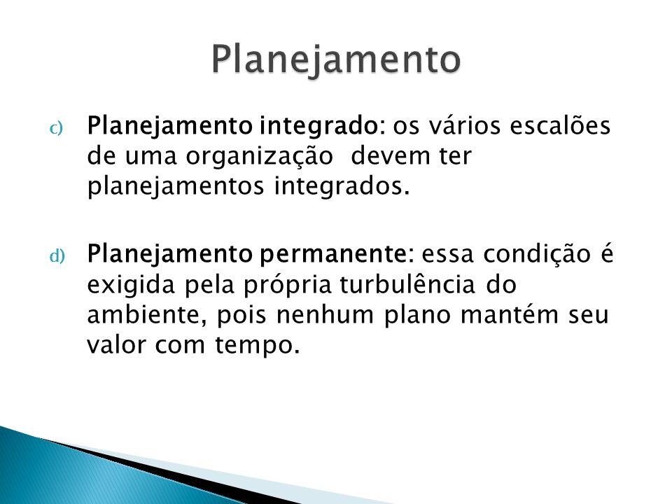 Partes do Planejamento a) Planejamento dos fins: determina a especificação do estado futuro desejado, ou seja, a missão, propósitos, objetivos, desafios e metas.
