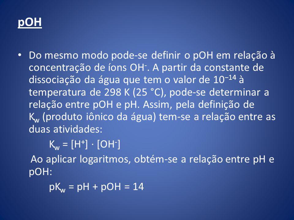 pOH Do mesmo modo pode-se definir o pOH em relação à concentração de íons OH -.