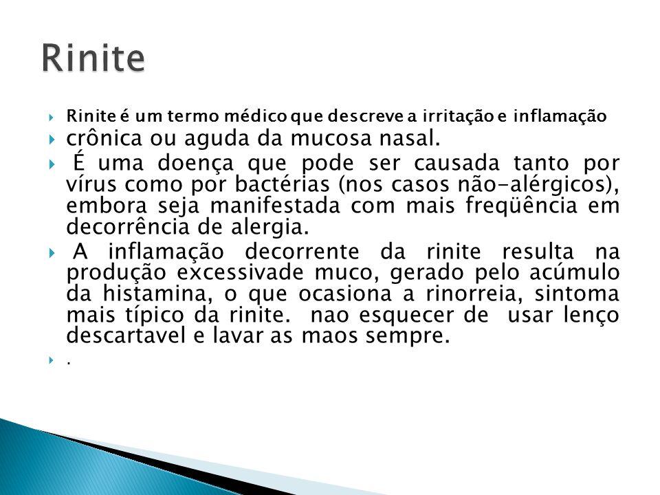 Rinite é um termo médico que descreve a irritação e inflamação crônica ou aguda da mucosa nasal. É uma doença que pode ser causada tanto por vírus com