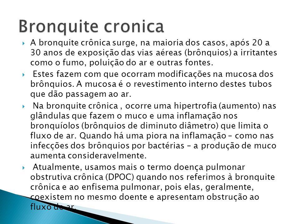 A bronquite crônica surge, na maioria dos casos, após 20 a 30 anos de exposição das vias aéreas (brônquios) a irritantes como o fumo, poluição do ar e