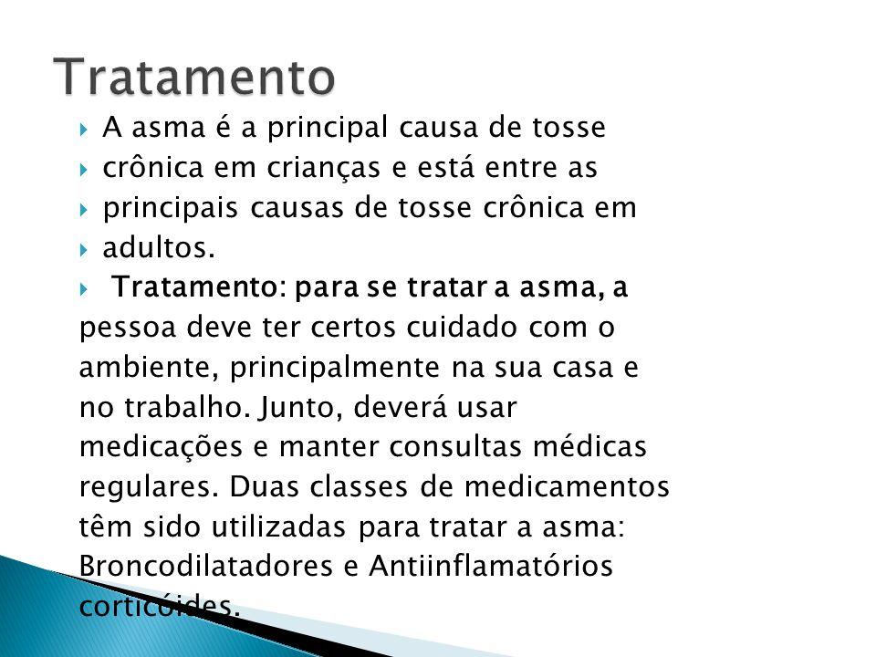 A asma é a principal causa de tosse crônica em crianças e está entre as principais causas de tosse crônica em adultos. Tratamento: para se tratar a as