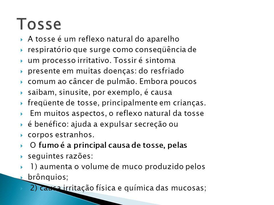 A tosse é um reflexo natural do aparelho respiratório que surge como conseqüência de um processo irritativo. Tossir é sintoma presente em muitas doenç