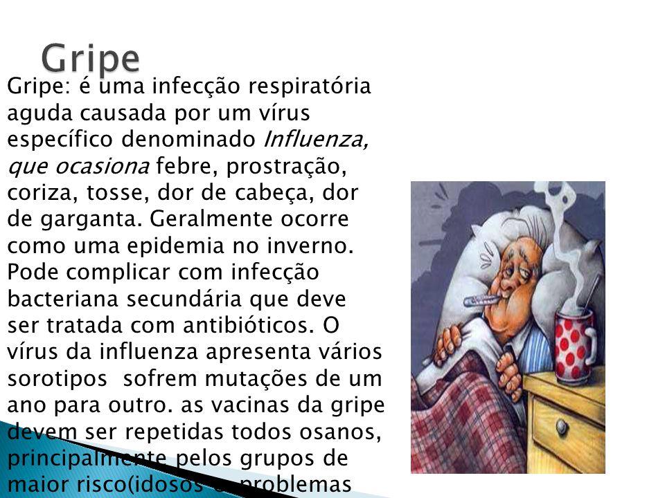Gripe: é uma infecção respiratória aguda causada por um vírus específico denominado Influenza, que ocasiona febre, prostração, coriza, tosse, dor de c