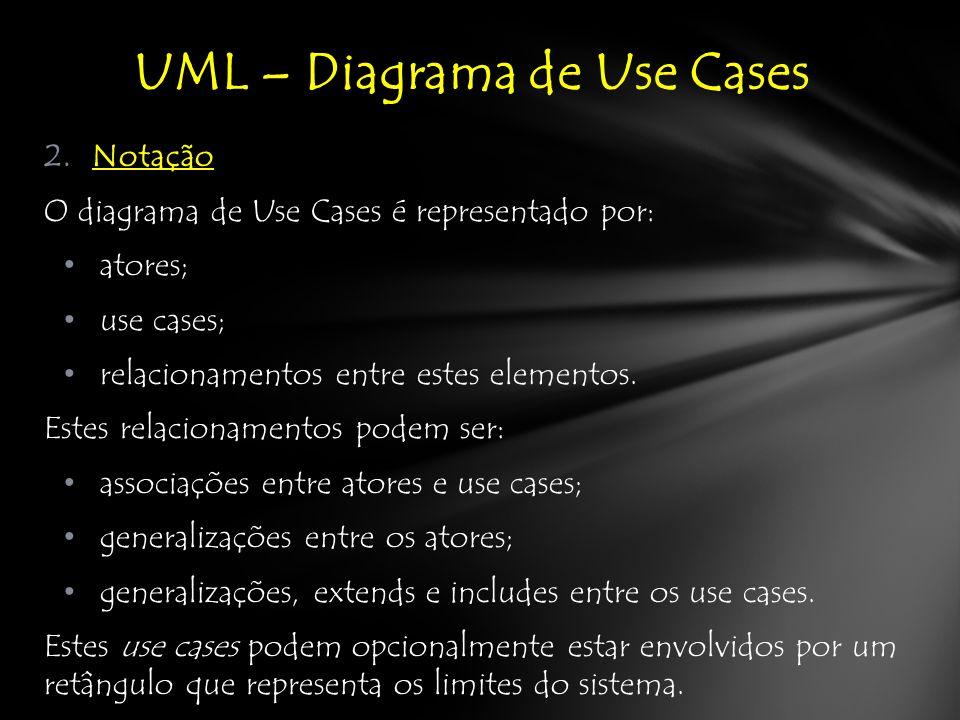 2.Notação O diagrama de Use Cases é representado por: atores; use cases; relacionamentos entre estes elementos.