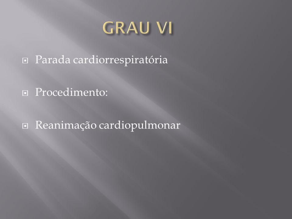 Parada cardiorrespiratória Procedimento: Reanimação cardiopulmonar