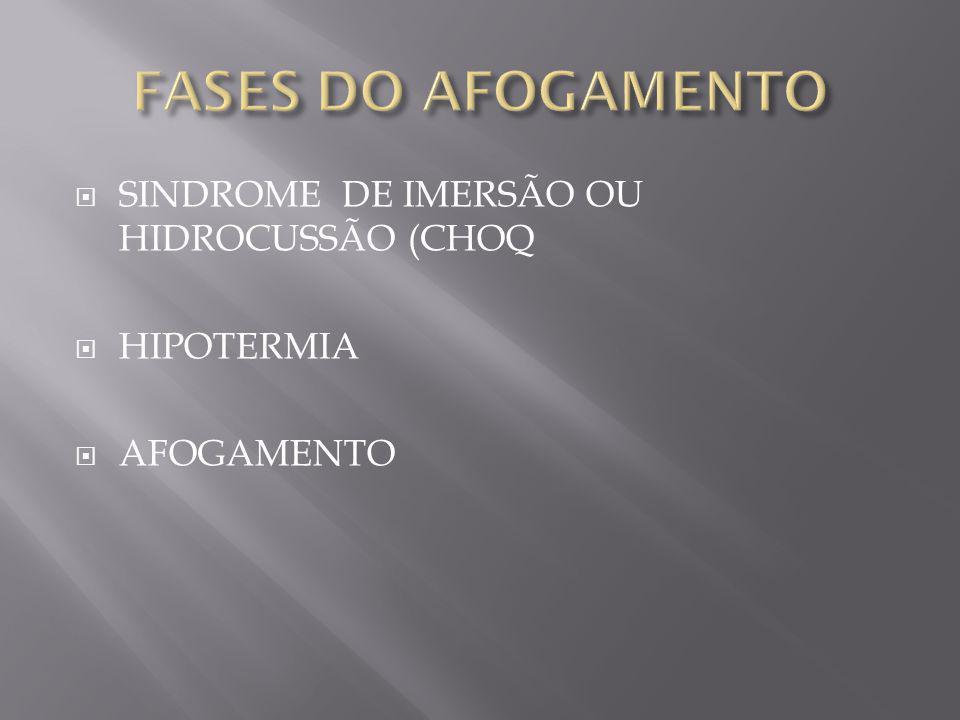 SINDROME DE IMERSÃO OU HIDROCUSSÃO (CHOQ HIPOTERMIA AFOGAMENTO