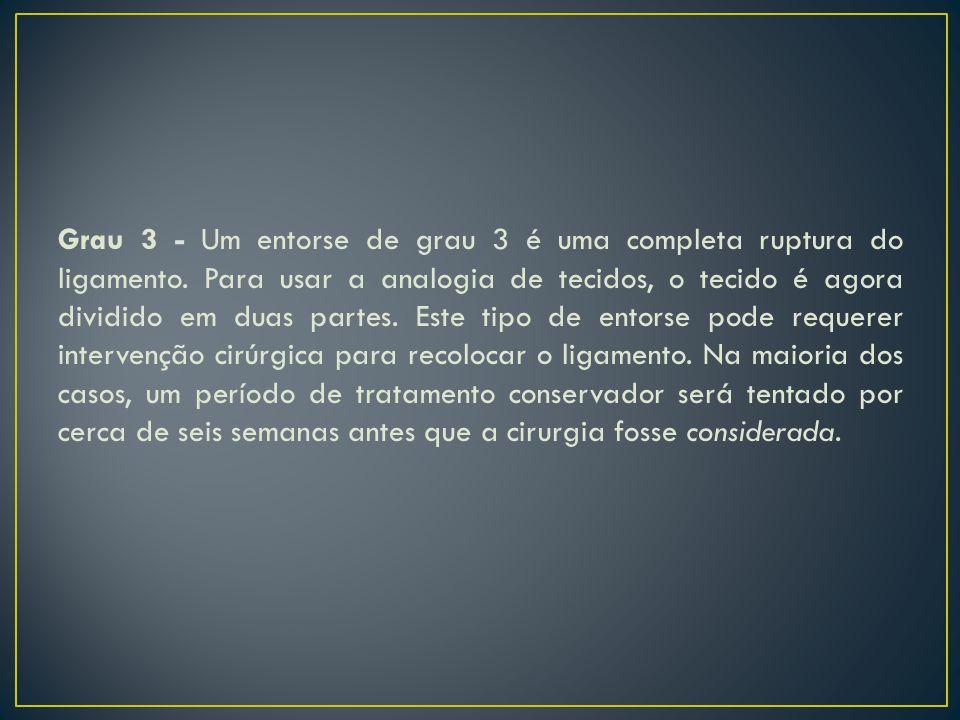 Grau 3 - Um entorse de grau 3 é uma completa ruptura do ligamento. Para usar a analogia de tecidos, o tecido é agora dividido em duas partes. Este tip