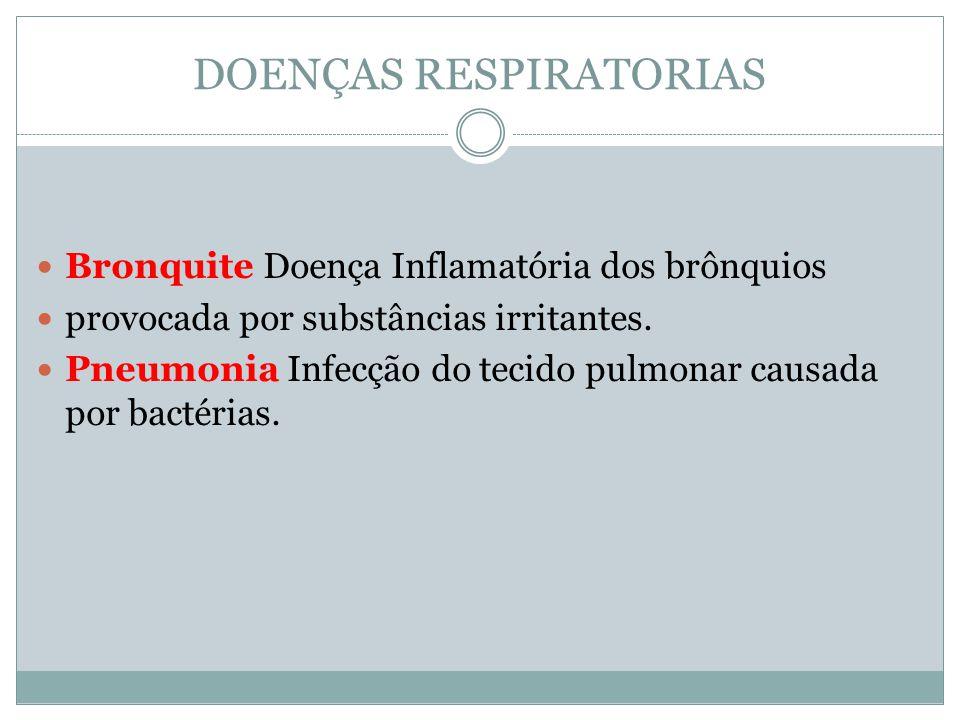 DOENÇAS RESPIRATORIAS Bronquite Doença Inflamatória dos brônquios provocada por substâncias irritantes. Pneumonia Infecção do tecido pulmonar causada