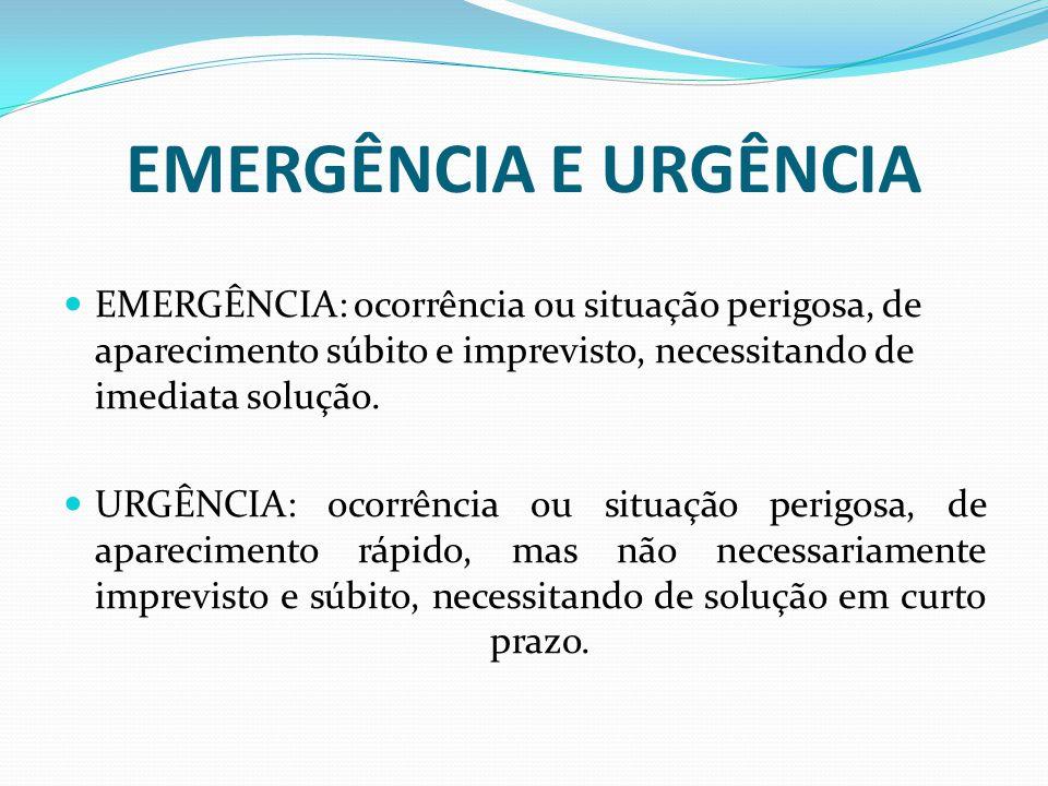 EMERGÊNCIA E URGÊNCIA EMERGÊNCIA: ocorrência ou situação perigosa, de aparecimento súbito e imprevisto, necessitando de imediata solução. URGÊNCIA: oc