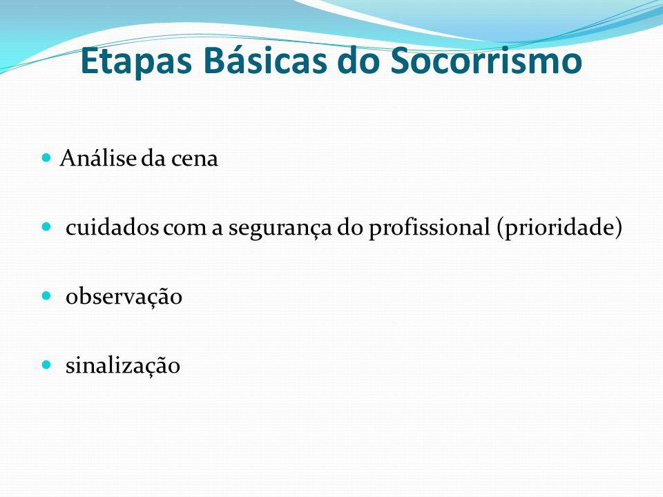 Etapas Básicas do Socorrismo Análise da cena cuidados com a segurança do profissional (prioridade) observação sinalização