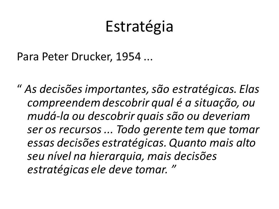 Estratégia Para Peter Drucker, 1954... As decisões importantes, são estratégicas. Elas compreendem descobrir qual é a situação, ou mudá-la ou descobri