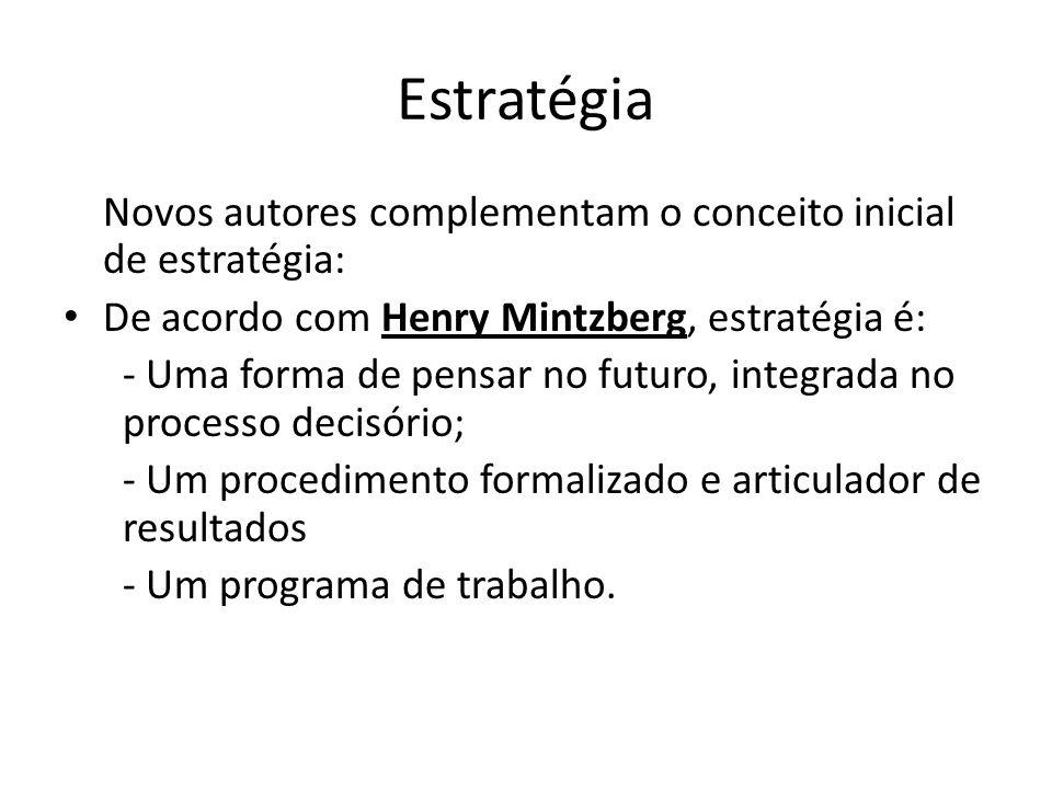 Estratégia Novos autores complementam o conceito inicial de estratégia: De acordo com Henry Mintzberg, estratégia é: - Uma forma de pensar no futuro,