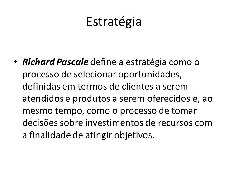 Estratégia Richard Pascale define a estratégia como o processo de selecionar oportunidades, definidas em termos de clientes a serem atendidos e produt