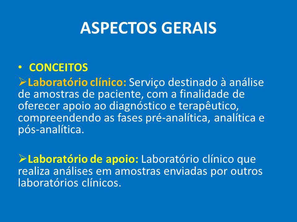 ASPECTOS GERAIS CONCEITOS Laboratório clínico: Serviço destinado à análise de amostras de paciente, com a finalidade de oferecer apoio ao diagnóstico e terapêutico, compreendendo as fases pré-analítica, analítica e pós-analítica.