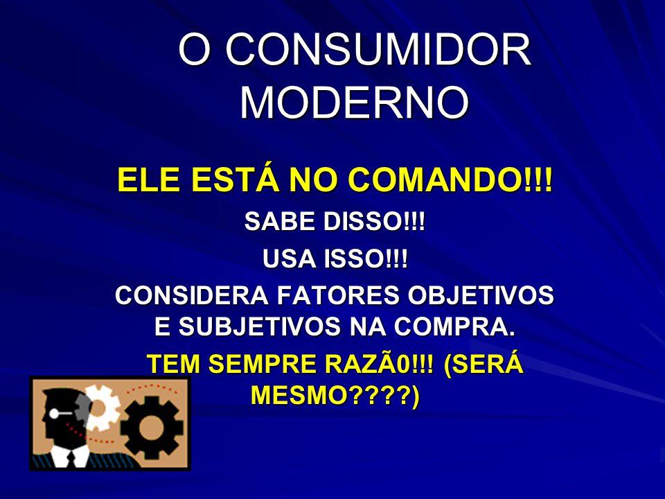 O CONSUMIDOR MODERNO ELE ESTÁ NO COMANDO!!! SABE DISSO!!! USA ISSO!!! CONSIDERA FATORES OBJETIVOS E SUBJETIVOS NA COMPRA. TEM SEMPRE RAZÃ0!!! (SERÁ ME