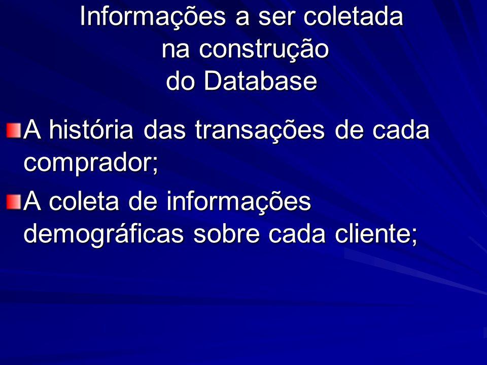 Informações a ser coletada na construção do Database A história das transações de cada comprador; A coleta de informações demográficas sobre cada cliente;