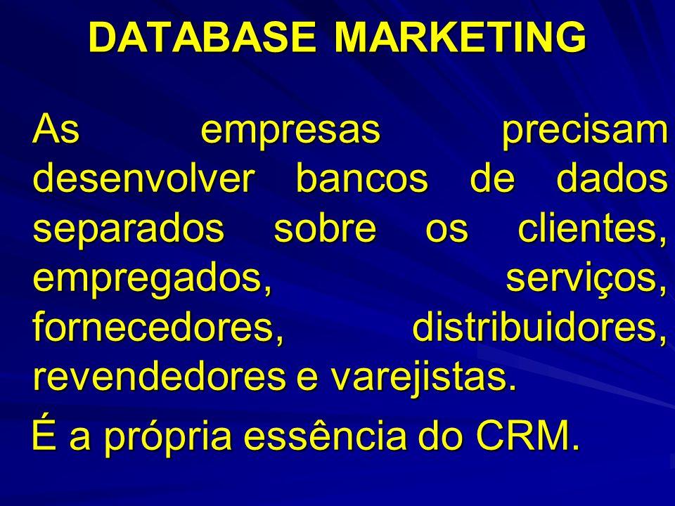 DATABASE MARKETING As empresas precisam desenvolver bancos de dados separados sobre os clientes, empregados, serviços, fornecedores, distribuidores, revendedores e varejistas.