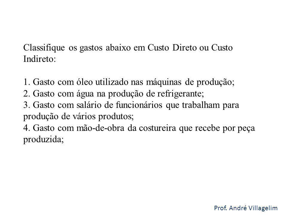 Prof.André Villagelim Classifique os gastos abaixo em Custo Direto ou Custo Indireto: 1.