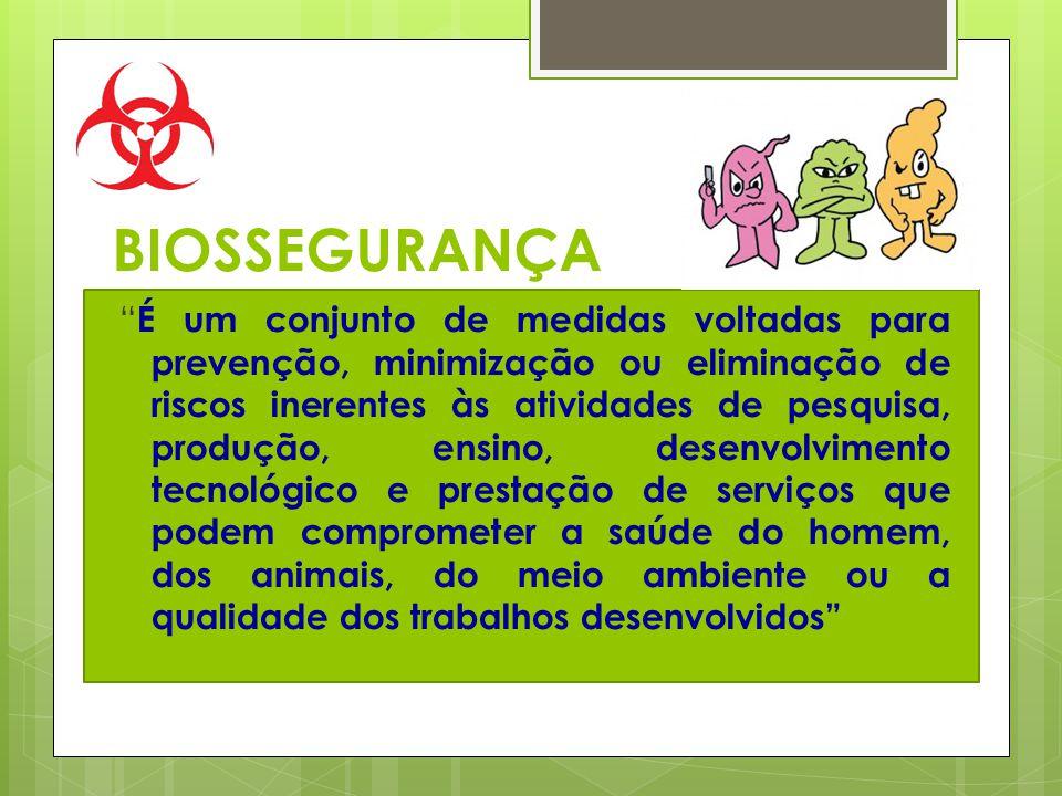 BIOSSEGURANÇA É um conjunto de medidas voltadas para prevenção, minimização ou eliminação de riscos inerentes às atividades de pesquisa, produção, ens
