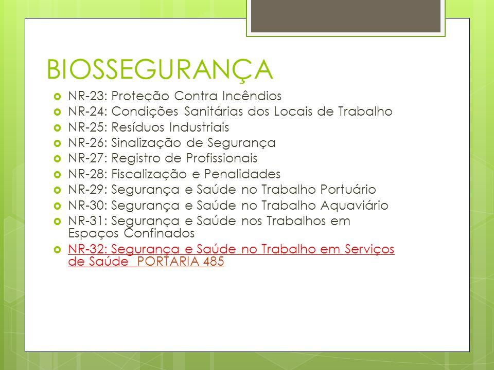 BIOSSEGURANÇA NR-23: Proteção Contra Incêndios NR-24: Condições Sanitárias dos Locais de Trabalho NR-25: Resíduos Industriais NR-26: Sinalização de Se