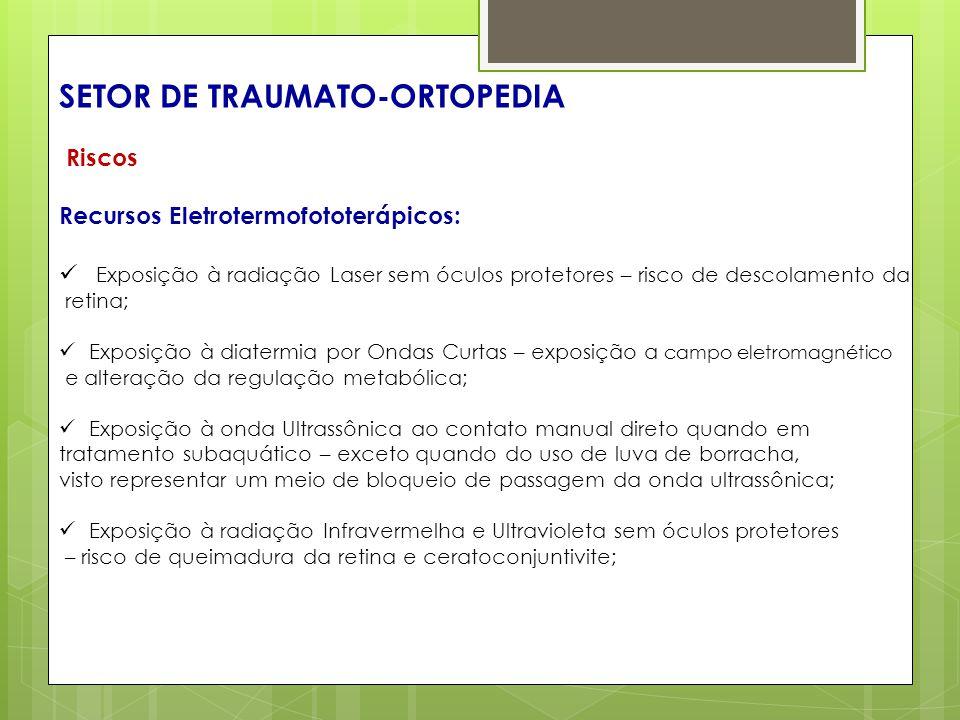 SETOR DE TRAUMATO-ORTOPEDIA Riscos Recursos Eletrotermofototerápicos: Exposição à radiação Laser sem óculos protetores – risco de descolamento da reti