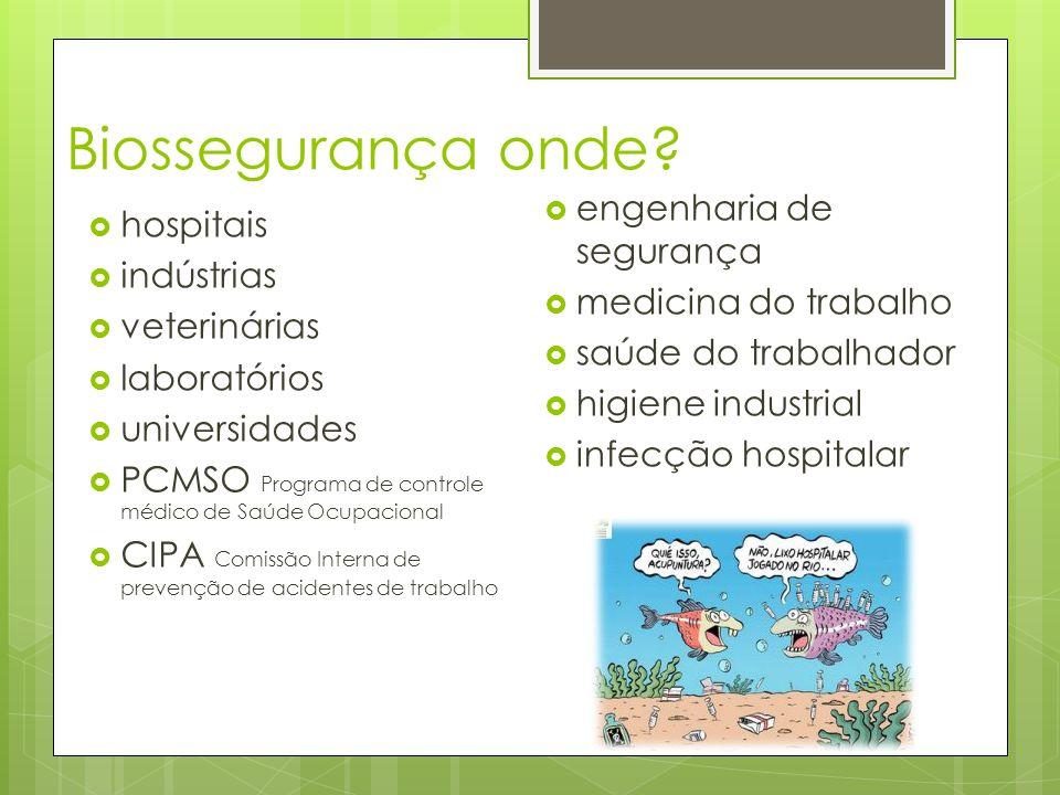 Biossegurança onde? hospitais indústrias veterinárias laboratórios universidades PCMSO Programa de controle médico de Saúde Ocupacional CIPA Comissão