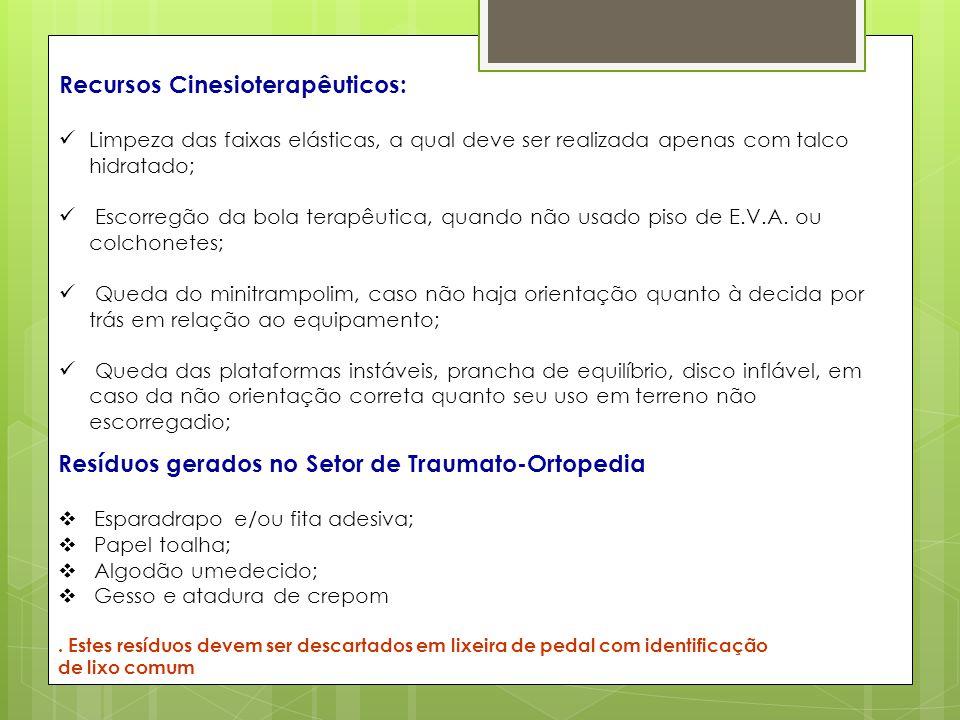 Recursos Cinesioterapêuticos: Limpeza das faixas elásticas, a qual deve ser realizada apenas com talco hidratado; Escorregão da bola terapêutica, quan