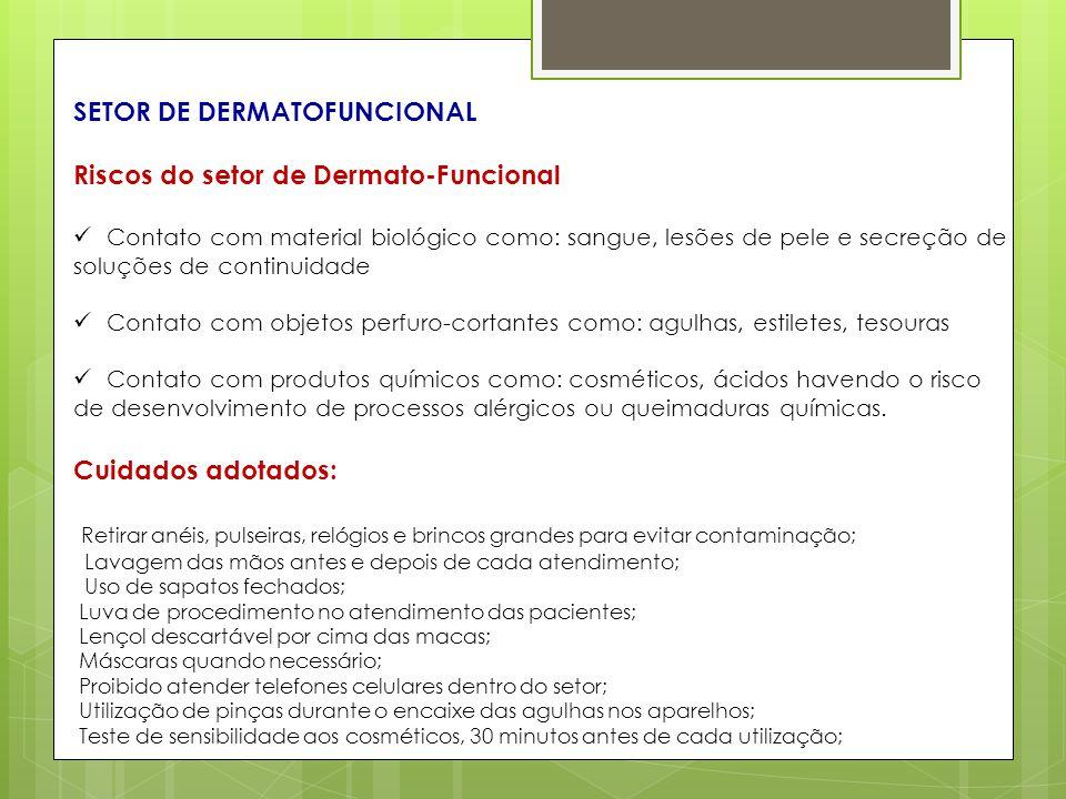 SETOR DE DERMATOFUNCIONAL Riscos do setor de Dermato-Funcional Contato com material biológico como: sangue, lesões de pele e secreção de soluções de c