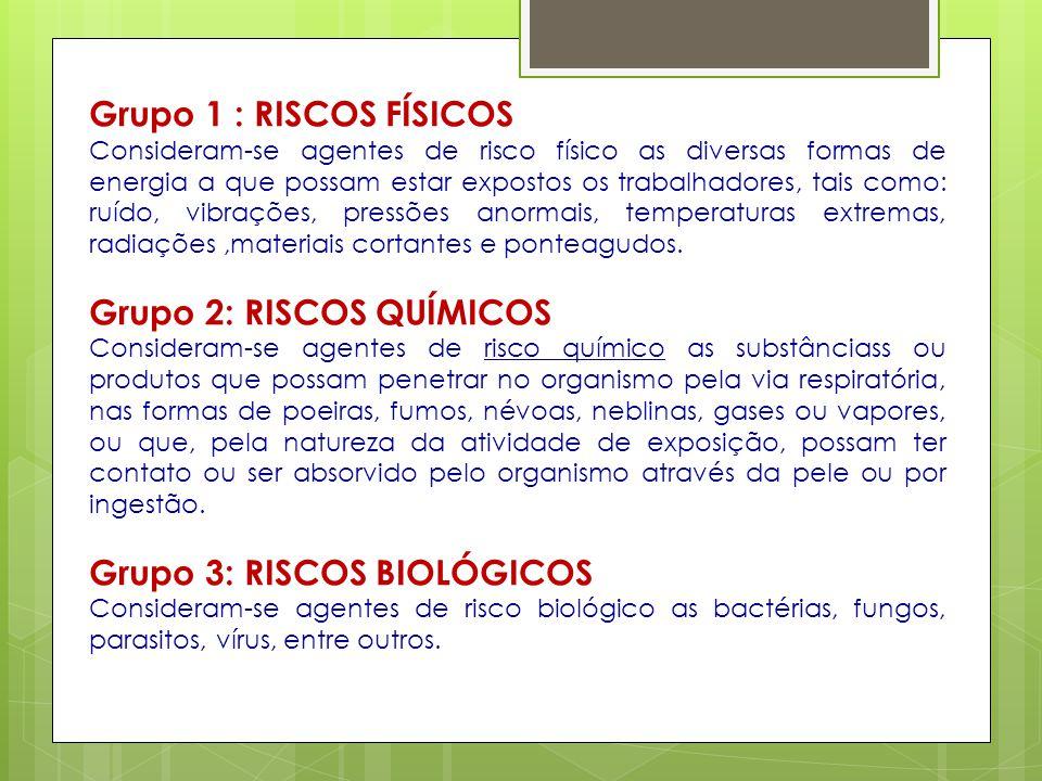 Grupo 1 : RISCOS FÍSICOS Consideram-se agentes de risco físico as diversas formas de energia a que possam estar expostos os trabalhadores, tais como:
