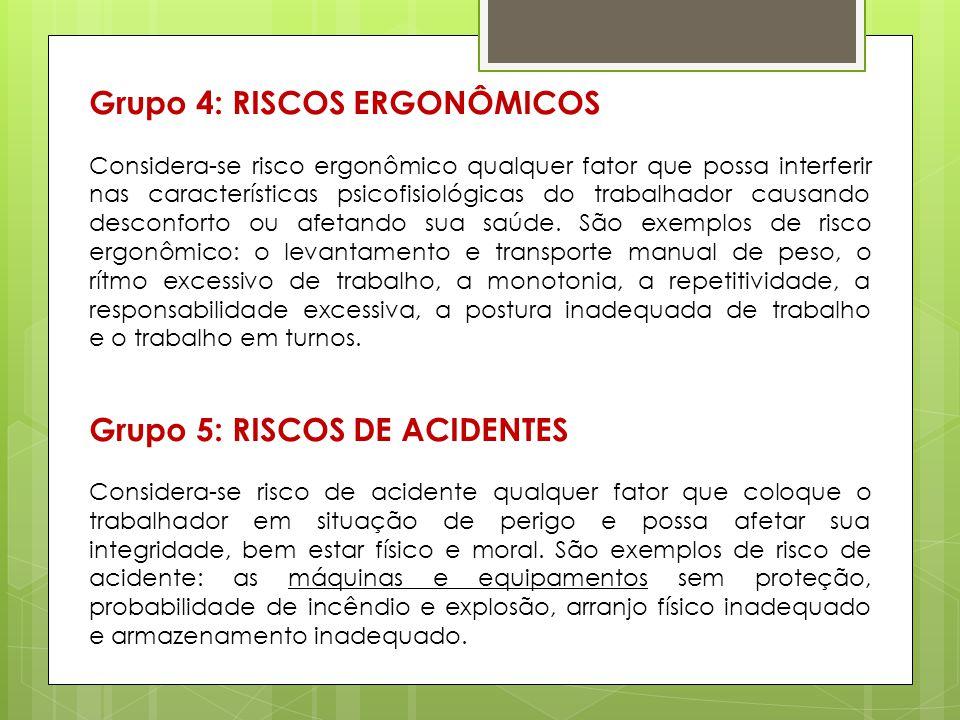 Grupo 4: RISCOS ERGONÔMICOS Considera-se risco ergonômico qualquer fator que possa interferir nas características psicofisiológicas do trabalhador cau