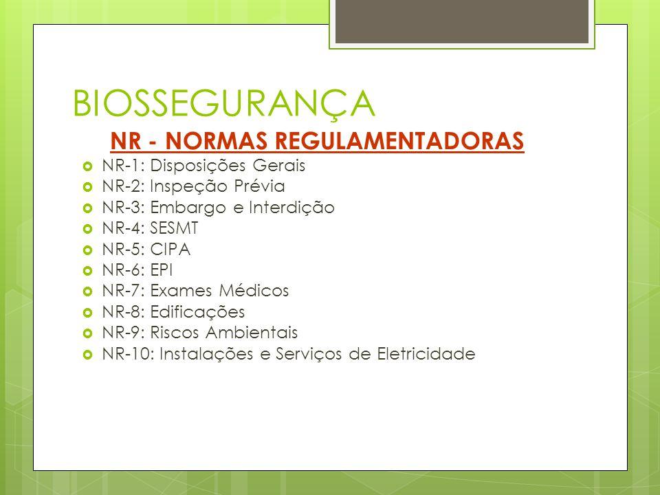 BIOSSEGURANÇA NR - NORMAS REGULAMENTADORAS NR-1: Disposições Gerais NR-2: Inspeção Prévia NR-3: Embargo e Interdição NR-4: SESMT NR-5: CIPA NR-6: EPI