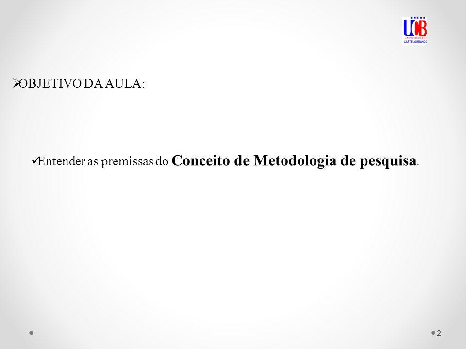 OBJETIVO DA AULA: Entender as premissas do Conceito de Metodologia de pesquisa. 2