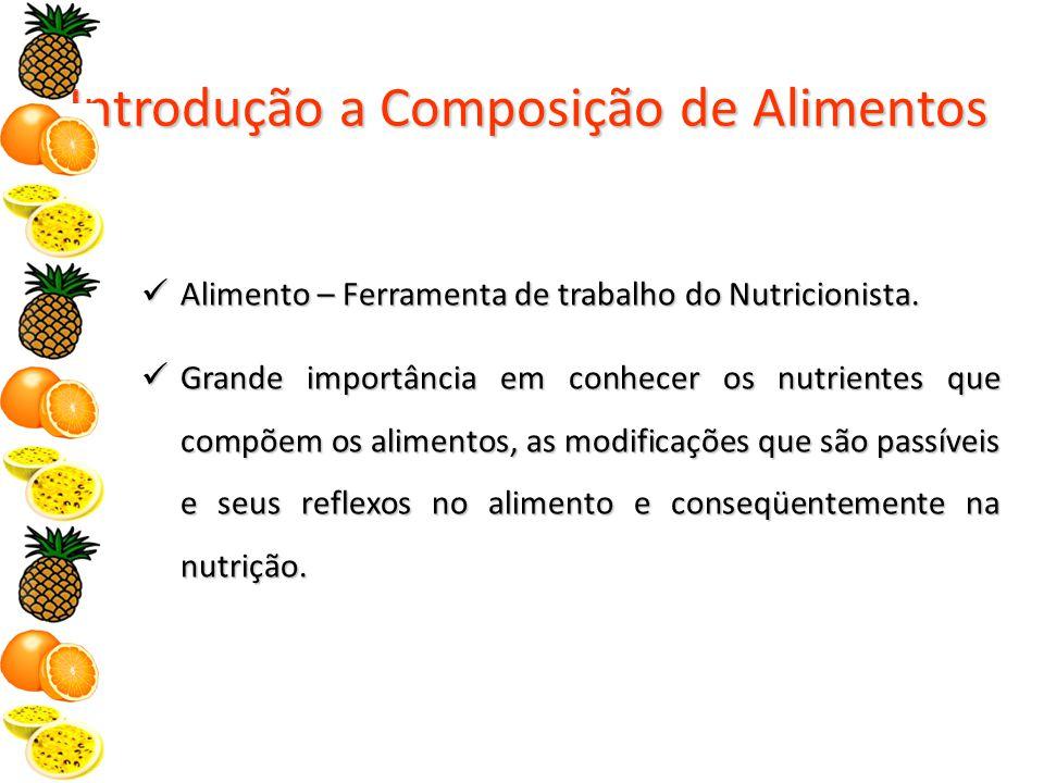 Introdução a Composição de Alimentos Alimento – Ferramenta de trabalho do Nutricionista.