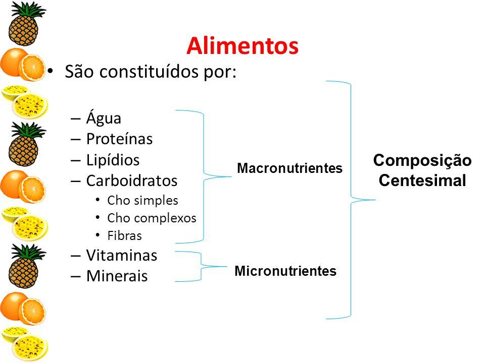 Alimentos São constituídos por: – Água – Proteínas – Lipídios – Carboidratos Cho simples Cho complexos Fibras – Vitaminas – Minerais Composição Centesimal Macronutrientes Micronutrientes