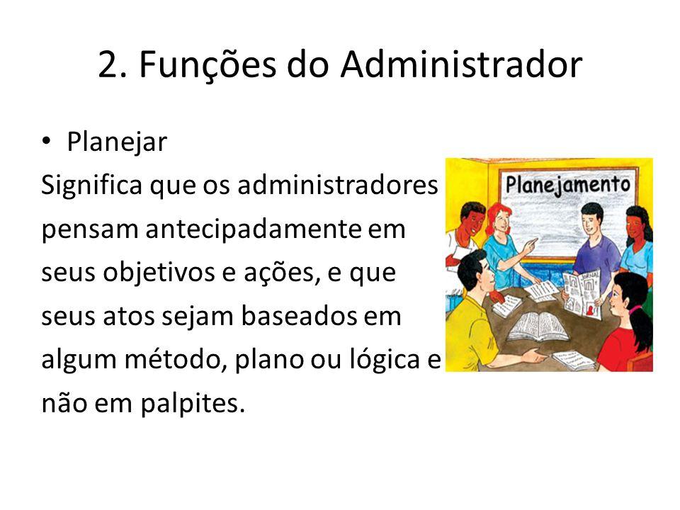 2. Funções do Administrador Planejar Significa que os administradores pensam antecipadamente em seus objetivos e ações, e que seus atos sejam baseados