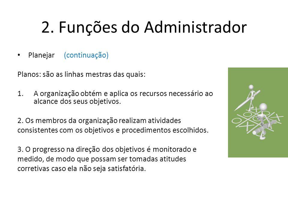 2. Funções do Administrador Planejar (continuação) Planos: são as linhas mestras das quais: 1.A organização obtém e aplica os recursos necessário ao a