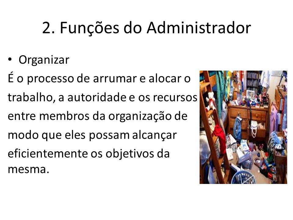 2. Funções do Administrador Organizar É o processo de arrumar e alocar o trabalho, a autoridade e os recursos entre membros da organização de modo que