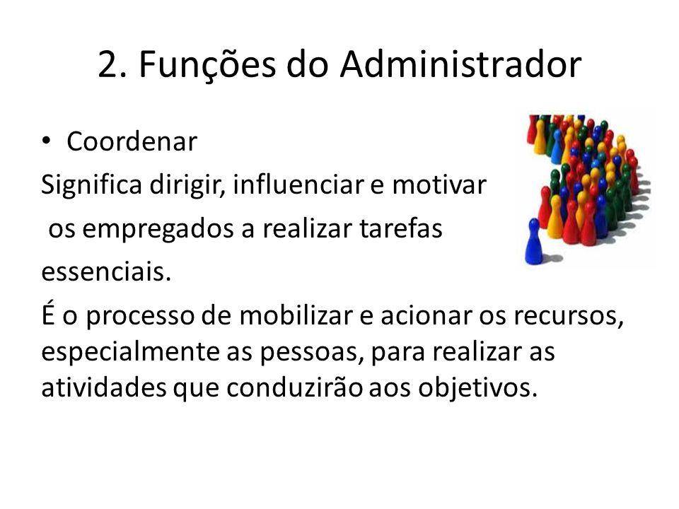 2. Funções do Administrador Coordenar Significa dirigir, influenciar e motivar os empregados a realizar tarefas essenciais. É o processo de mobilizar