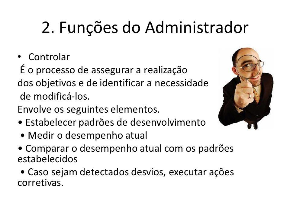 2. Funções do Administrador Controlar É o processo de assegurar a realização dos objetivos e de identificar a necessidade de modificá-los. Envolve os