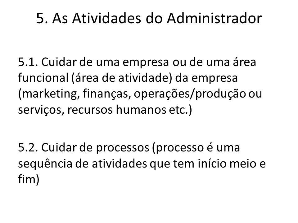 5. As Atividades do Administrador 5.1. Cuidar de uma empresa ou de uma área funcional (área de atividade) da empresa (marketing, finanças, operações/p
