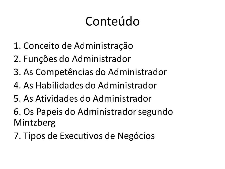 Conteúdo 1. Conceito de Administração 2. Funções do Administrador 3. As Competências do Administrador 4. As Habilidades do Administrador 5. As Ativida